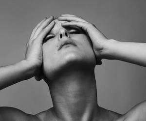 black and white, close eyes, and francisca valenzuela image