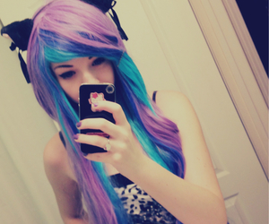 hair, blue, and cat image