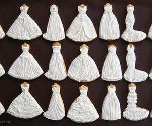 dress, Cookies, and wedding image