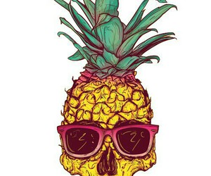 pineapple, skull, and summer image