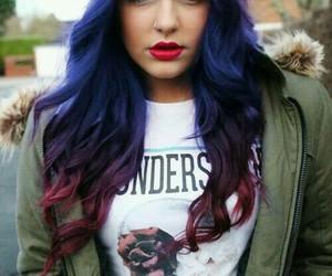 beanie, hair, and magenta image