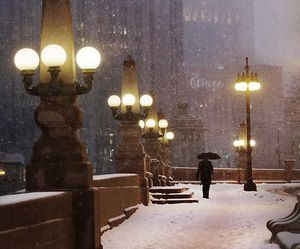 snow, winter, and chicago image