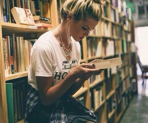 books, girl, and words image