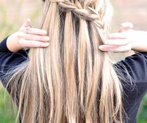 blond, waterfall braid, and blonde image
