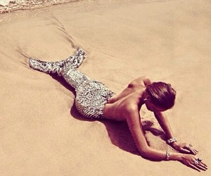 mermaid, beach, and sea image