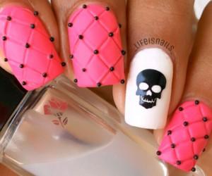 pink, nails, and black image