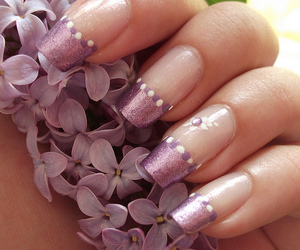 flower, nail art, and purple image