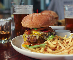burger, fries, and delicious image