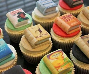 book, cupcake, and food image