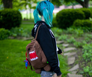 blue hair, domo, and blue image