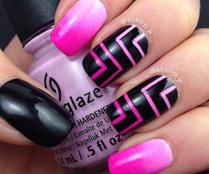 beauty, black and pink, and nails image