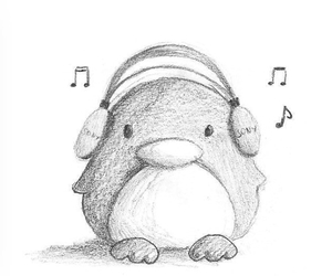 music, penguin, and art image