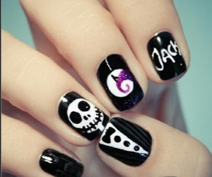black, Halloween, and nail image