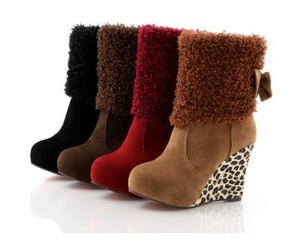 fancy boots for ladies, stylish women shoes, and cool fur footwear image