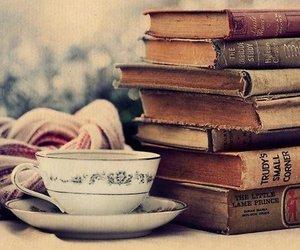book, tea, and vintage image