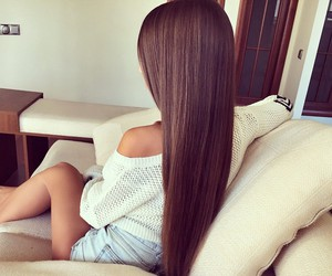 long hair, straight hair, and thick hair image