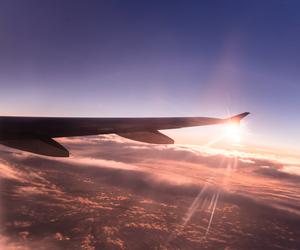airplane, sky, and sun image