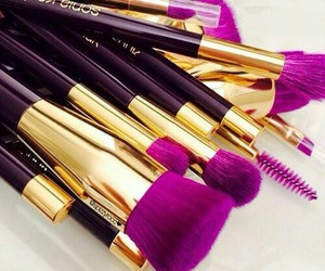 Brushes, makeup, and purple image