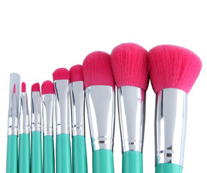 Brushes, makeup, and glamorous shopping image