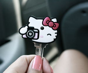 cute, key, and hello kitty image