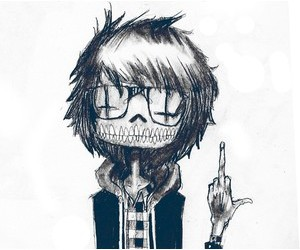 black and white, drawing, and middle finger image