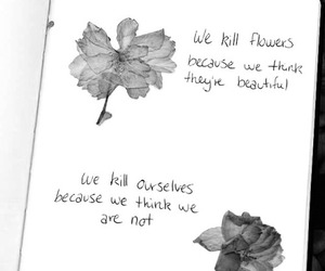 blackandwhite, flowers, and quote image