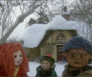 blue hair, cartoon, and winter image
