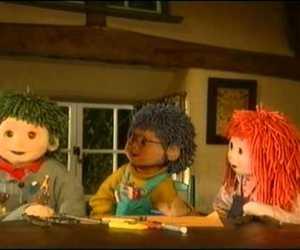 blue hair, cartoon, and childhood image