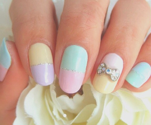 nails, pastel, and bow image