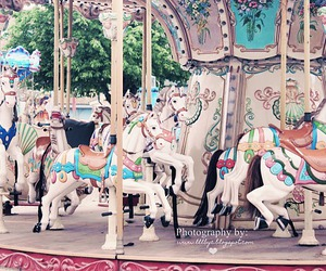 carousel, horses, and pastels image