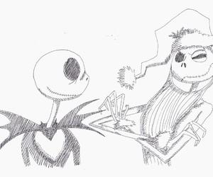 drawing, Halloween, and jack skellington image