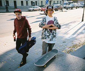 boy, skateboard, and guy image