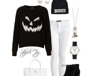 outfit, black and white, and Halloween image