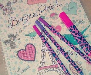 paris, notebook, and pink image