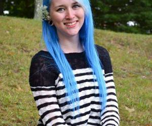 blue hair, dyed hair, and Piercings image