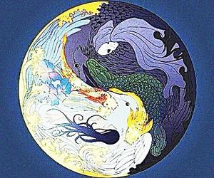 yin yang koi, fish reaper good, and bad light dark image