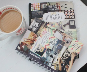journal, coffee, and diy image