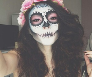 beautiful, flower, and skull image