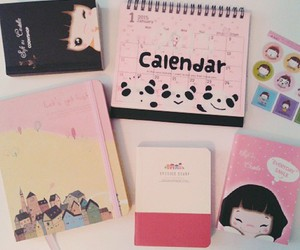 cartoon, notebook, and pink image