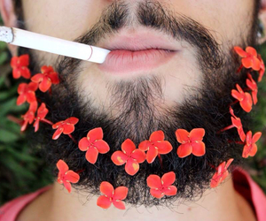 beard, cigarette, and flowers image