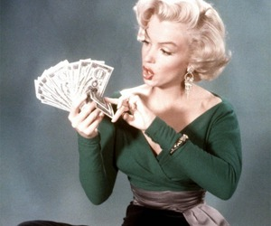 Marilyn Monroe, money, and vintage image