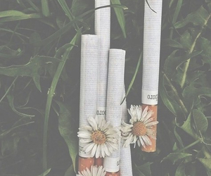 cigarette, flowers, and grunge image