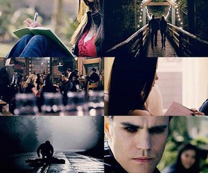 elena gilbert, mystic falls, and stefan salvatore image