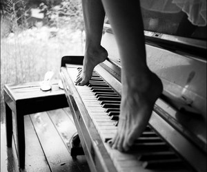 black and white, piano, and feet image