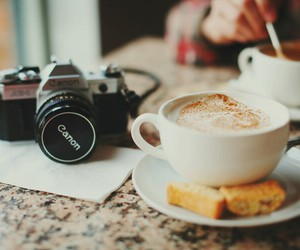 cam, canon, and coffee image