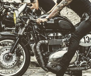 tattoo, boy, and motorcycle image