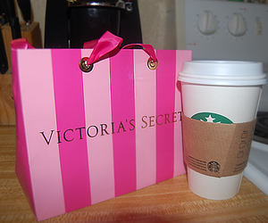 starbucks, pink, and Victoria's Secret image