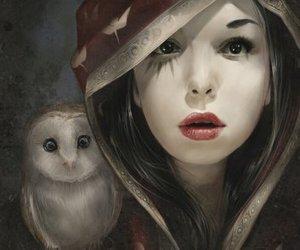 owl, girl, and art image