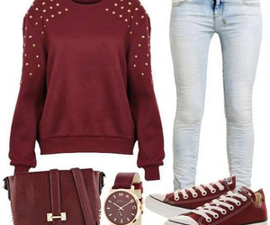outfit, jeans, and red image