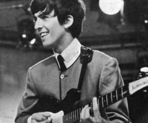 george harrison, the beatles, and black and white image